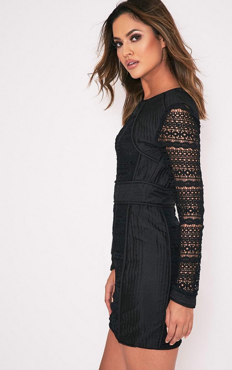 Cataleena Premium robe moulante en dentelle noire 4