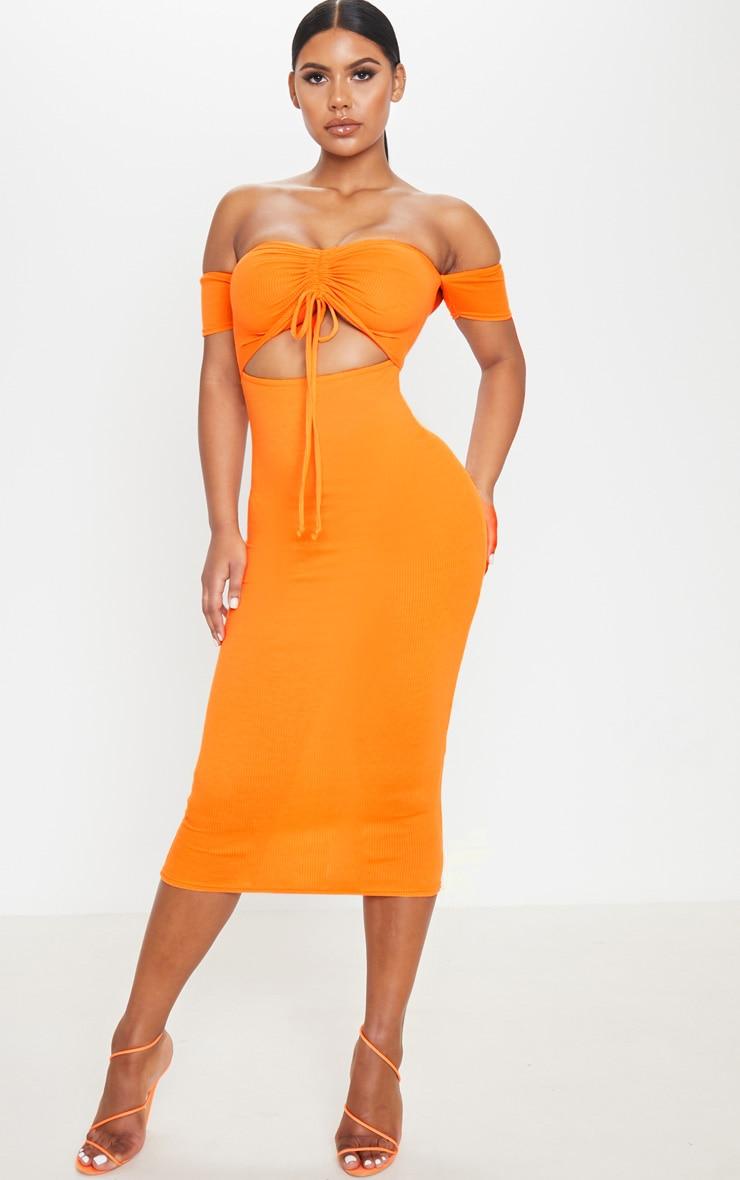 Robe longue côtelée orange à découpes et col bateau froncé 1