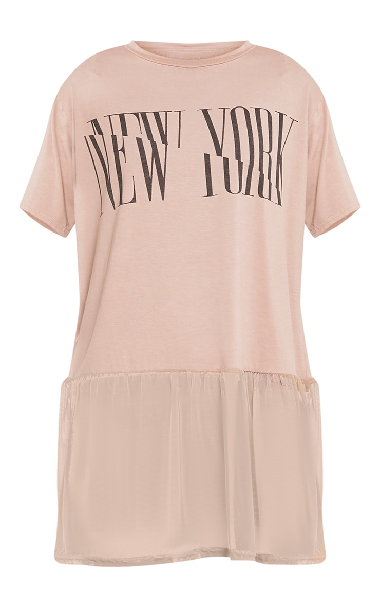 NEW YORK Spliced Slogan Nude Mesh Hem T Shirt 3