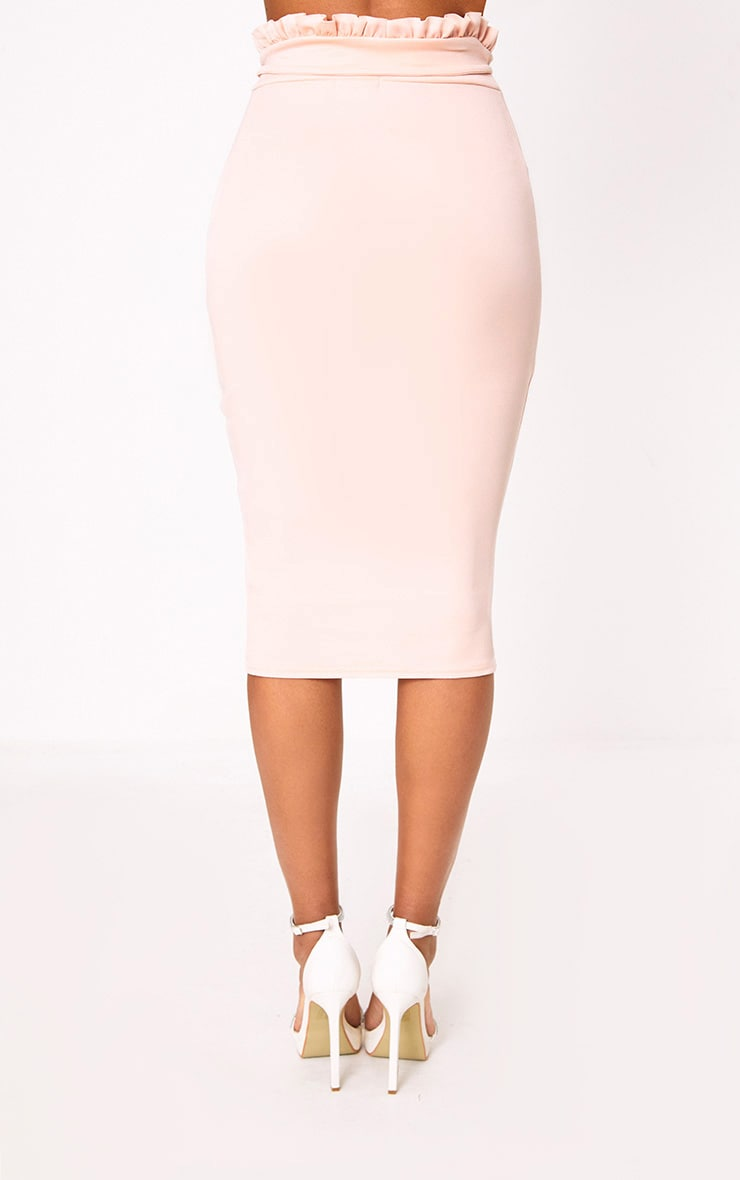 Blush Paperbag Waist Midi Skirt 4