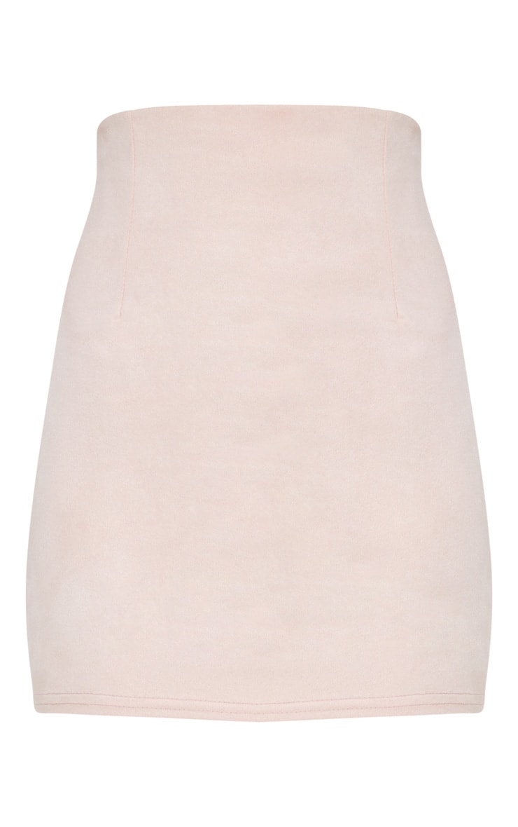 Pink Faux Suede Mini Skirt  3
