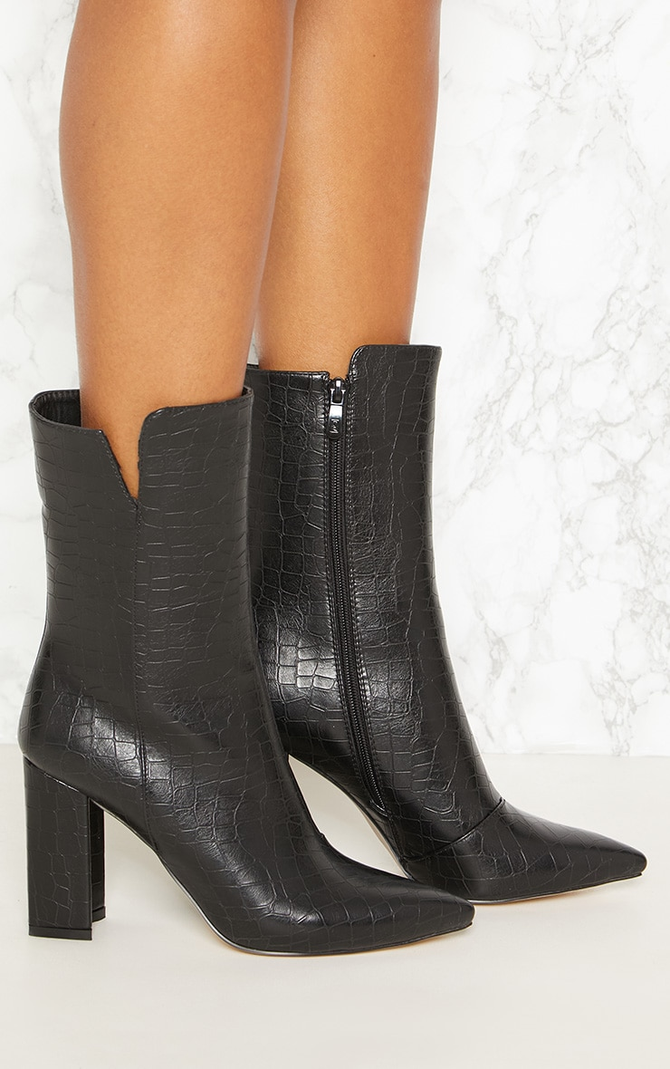 Black Faux Croc High Point Ankle Boot 4