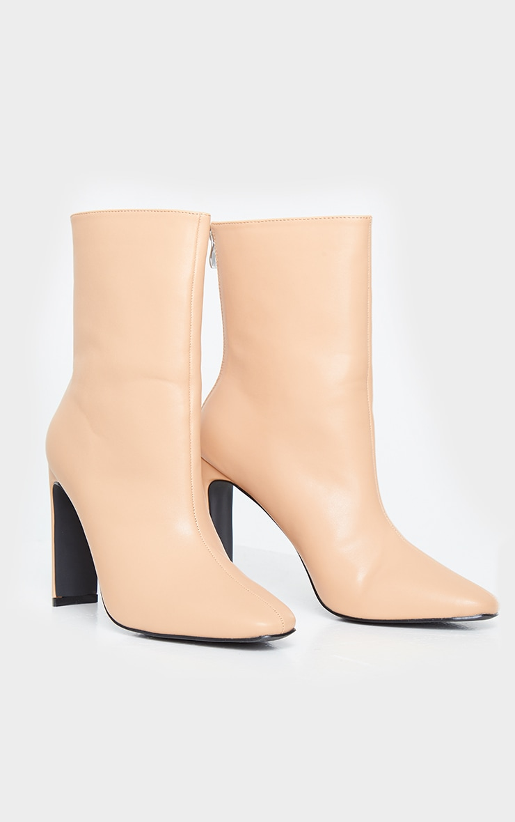 Tan High Flat Heel Ankle Boots 3