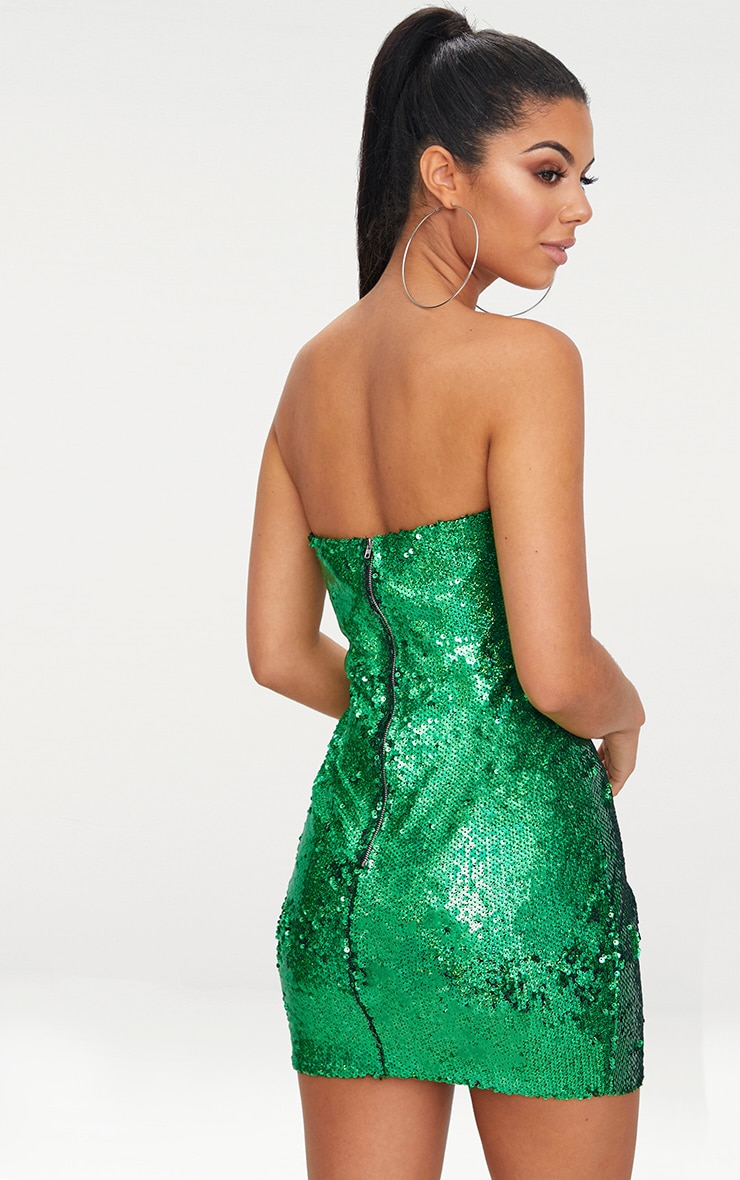 Bright Green Bandeau Sequin Bodycon Dress 2