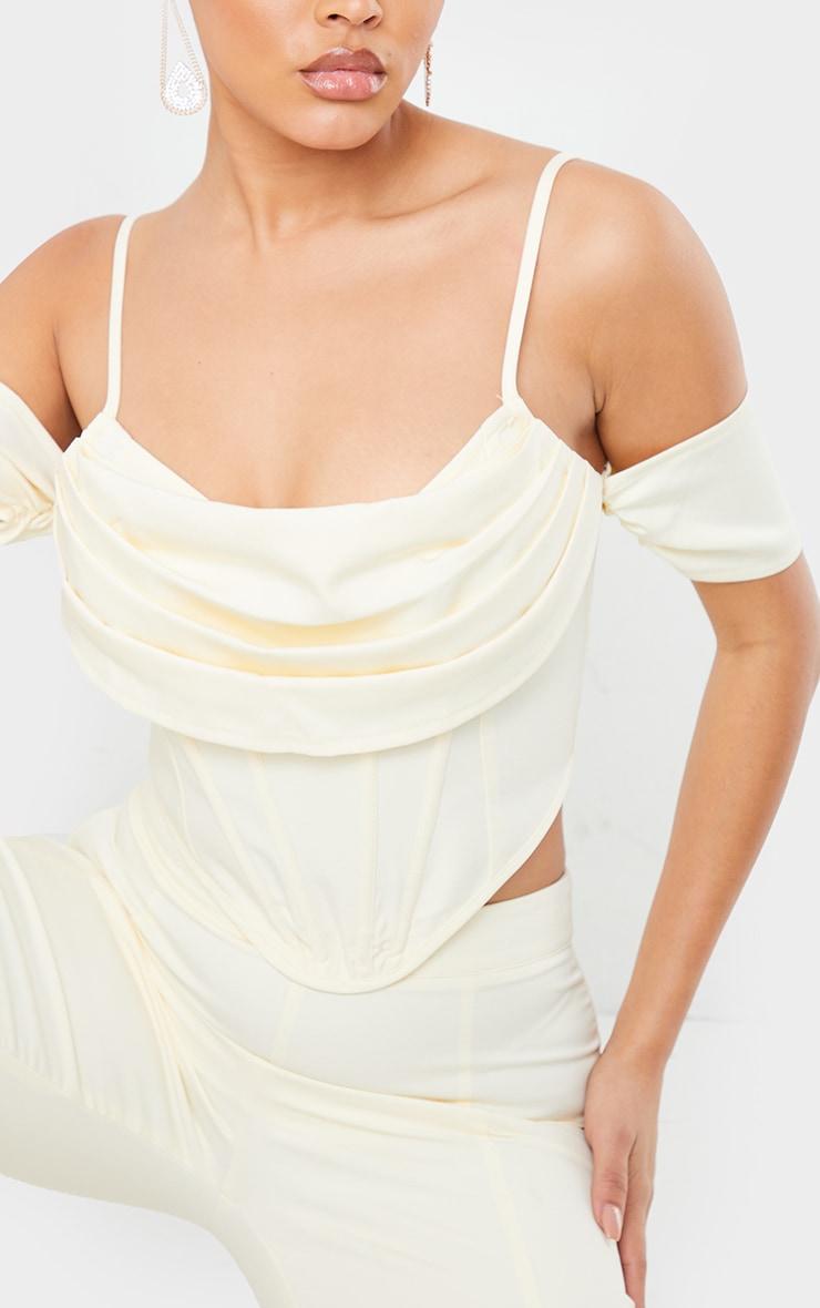 Cream Woven Strappy Bardot Draped Front Corset Detail Top 4