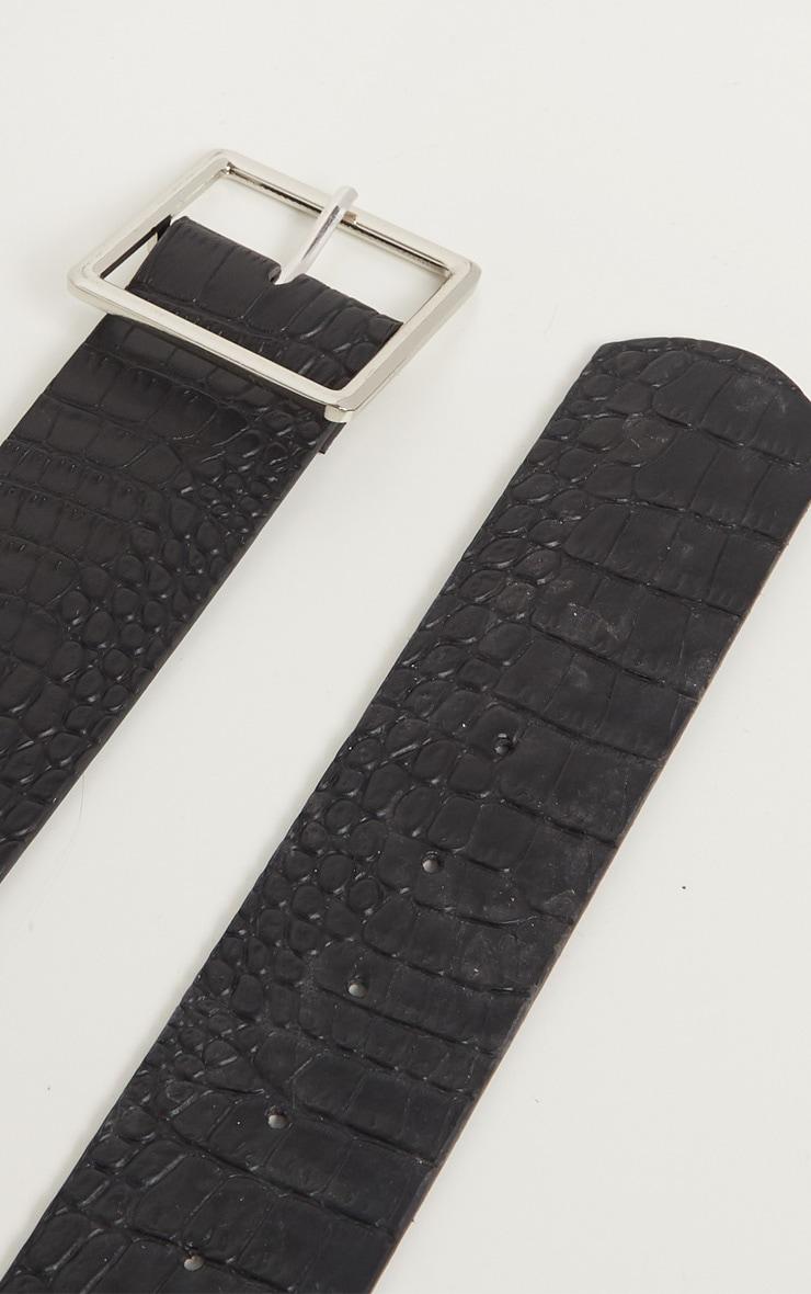 Black Croc Silver Square Buckle Belt  3