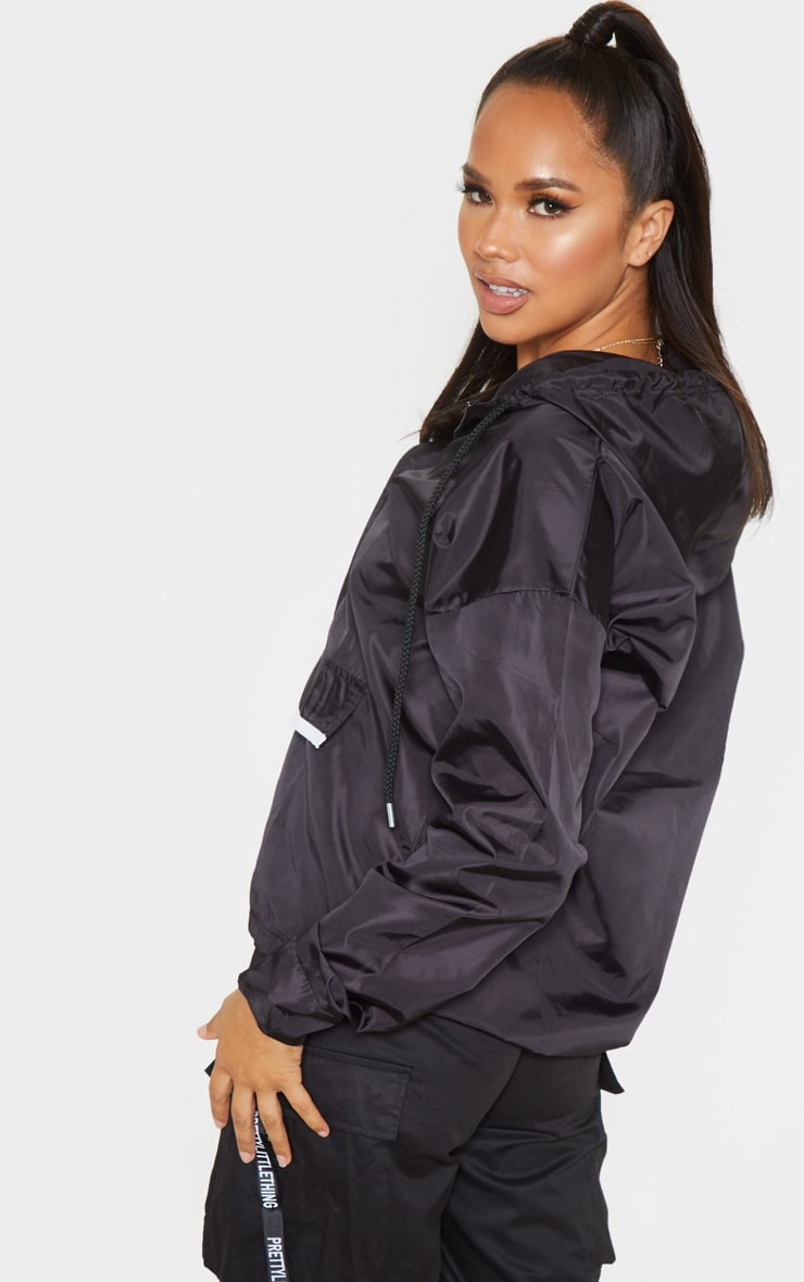 Black Shell Zip Up Hooded Windbreaker 2