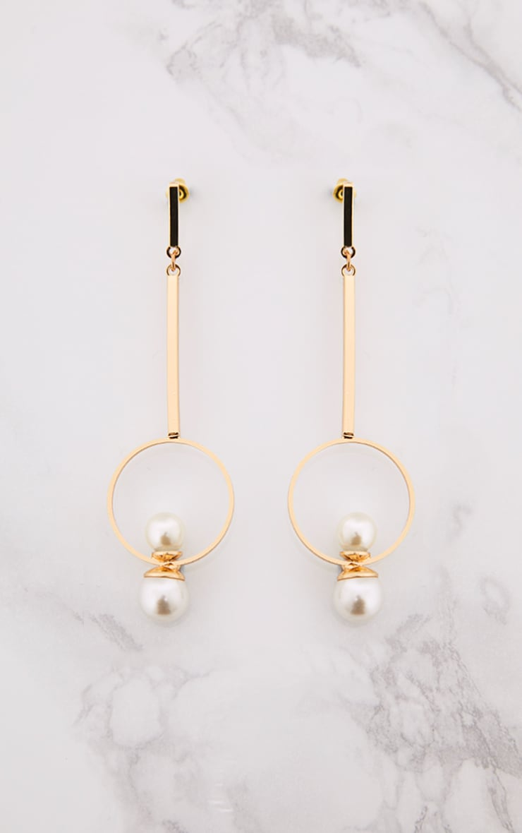 Jessica Gold Pearl Circle Drop Earrings 3