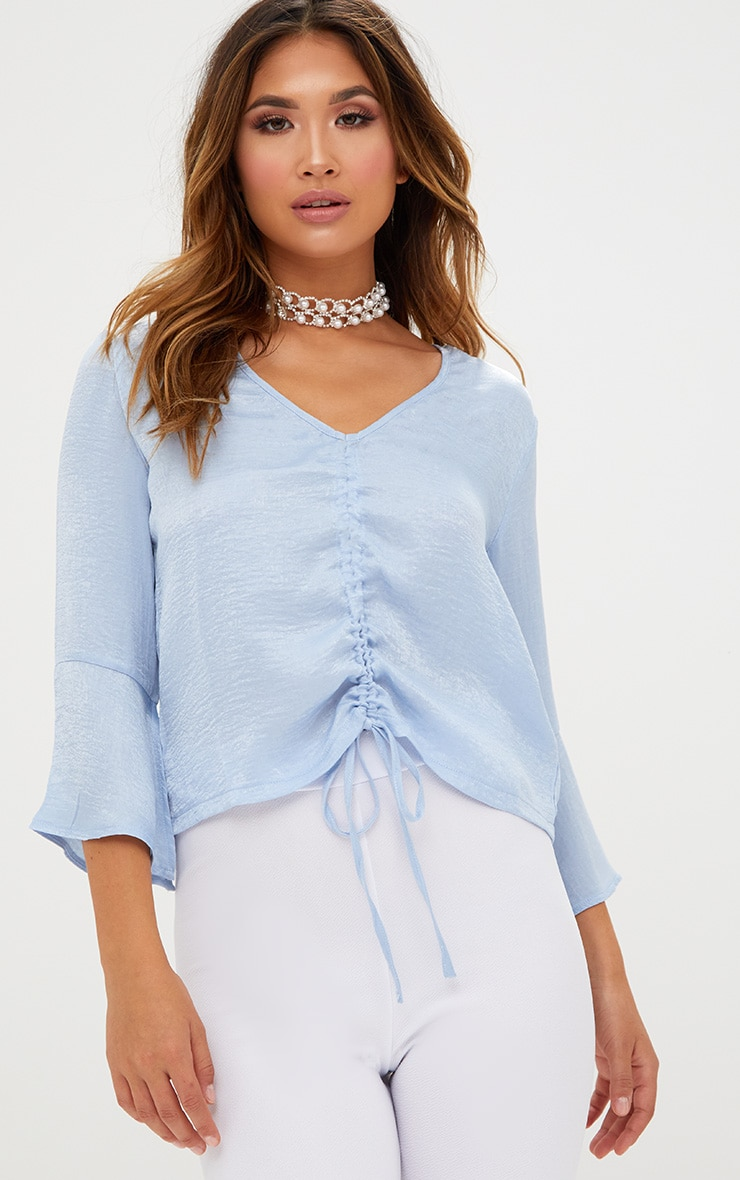 Pale Blue Ruched Front Frill Sleeve Silk Top  1