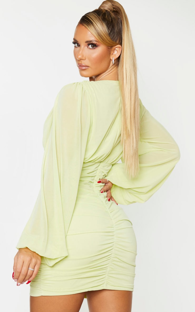 Lime Mesh Ruched Balloon Sleeve Bodycon Dress 2