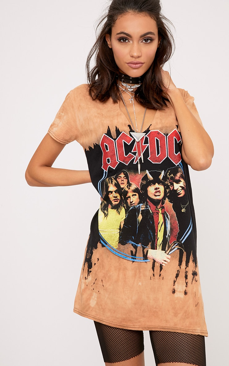 ACDC Cut Out Distressed T shirt Dress 1