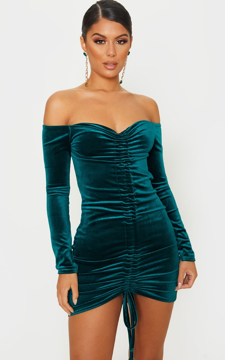 Emerald Green Velvet Bardot Ruched Long Sleeve Bodycon Dress 1