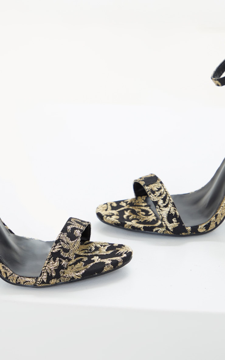 Black And Gold Brocade Clover Heeled Sandals 3