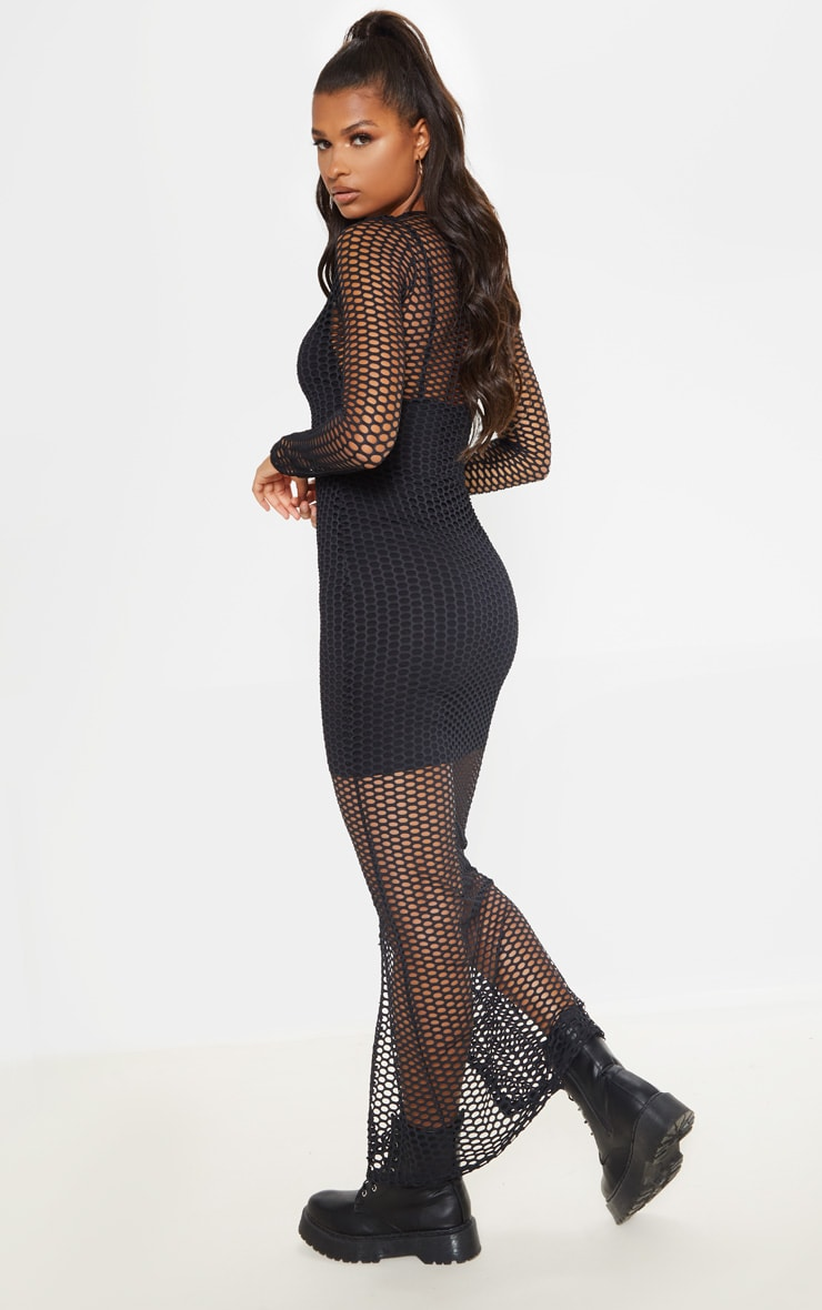 Black Fishnet Long Sleeve Split Maxi Dress 2