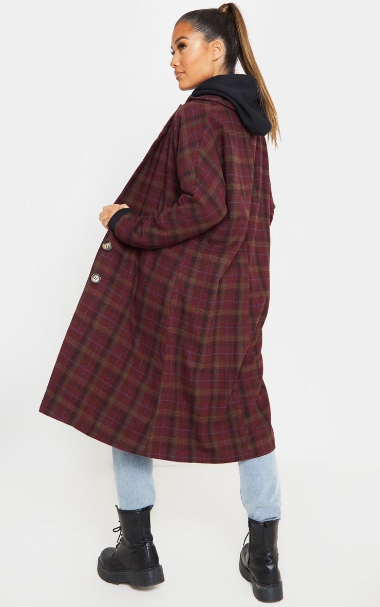 Burgundy Boyfriend Oversized Midi Coat 2