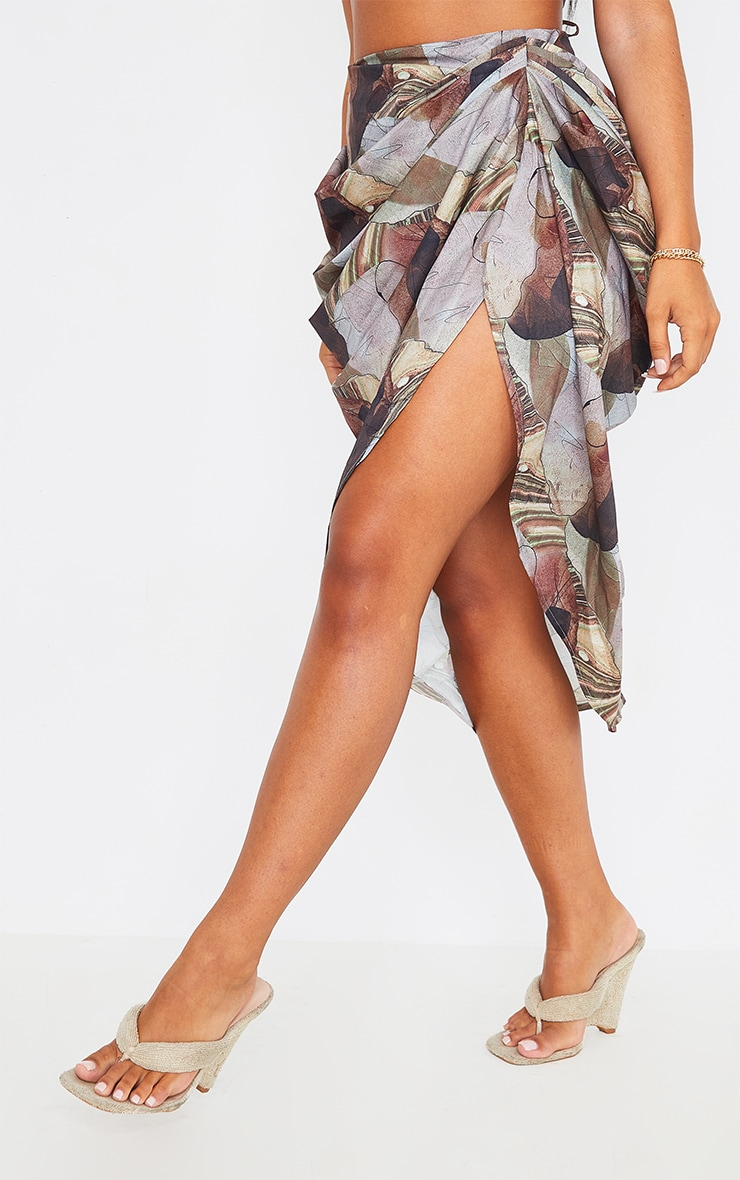 Sand Rust Abstract Print Ruched Midi Skirt 2
