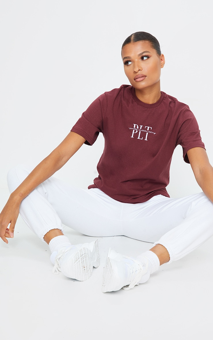 PRETTYLITTLETHING Rust Embroidered T Shirt 1