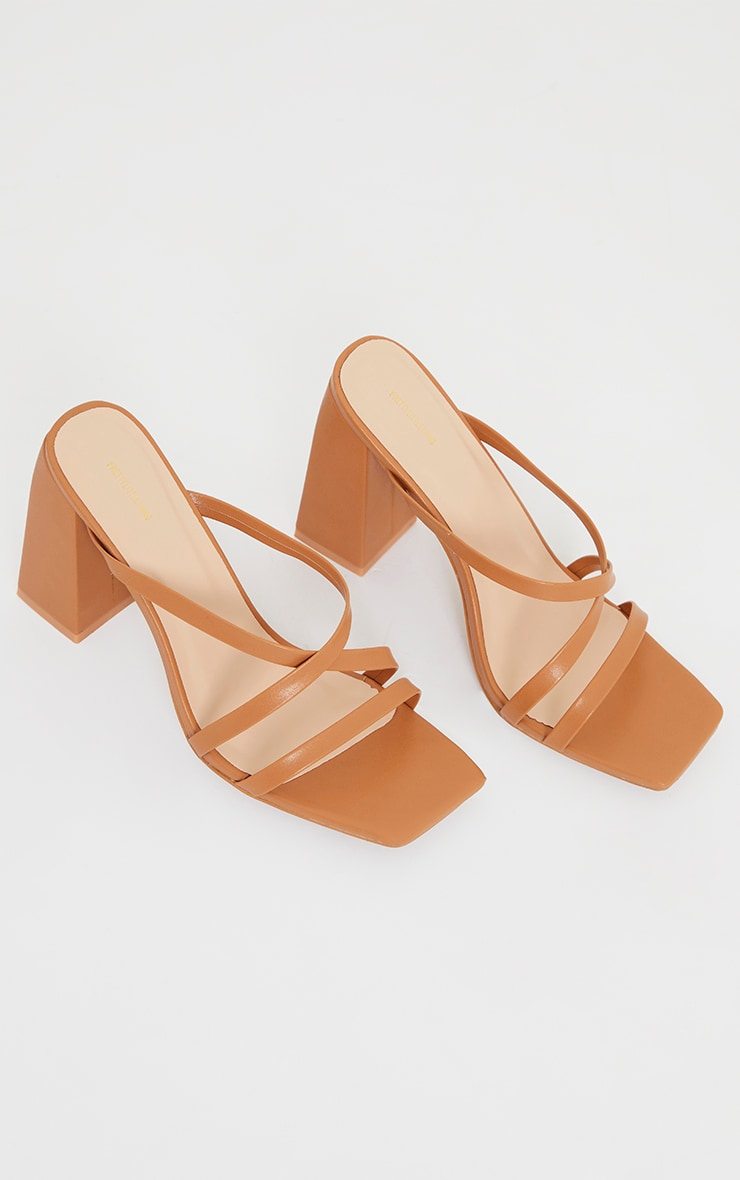 Camel Wide Fit Flare High Block Heel Strappy Mules 3