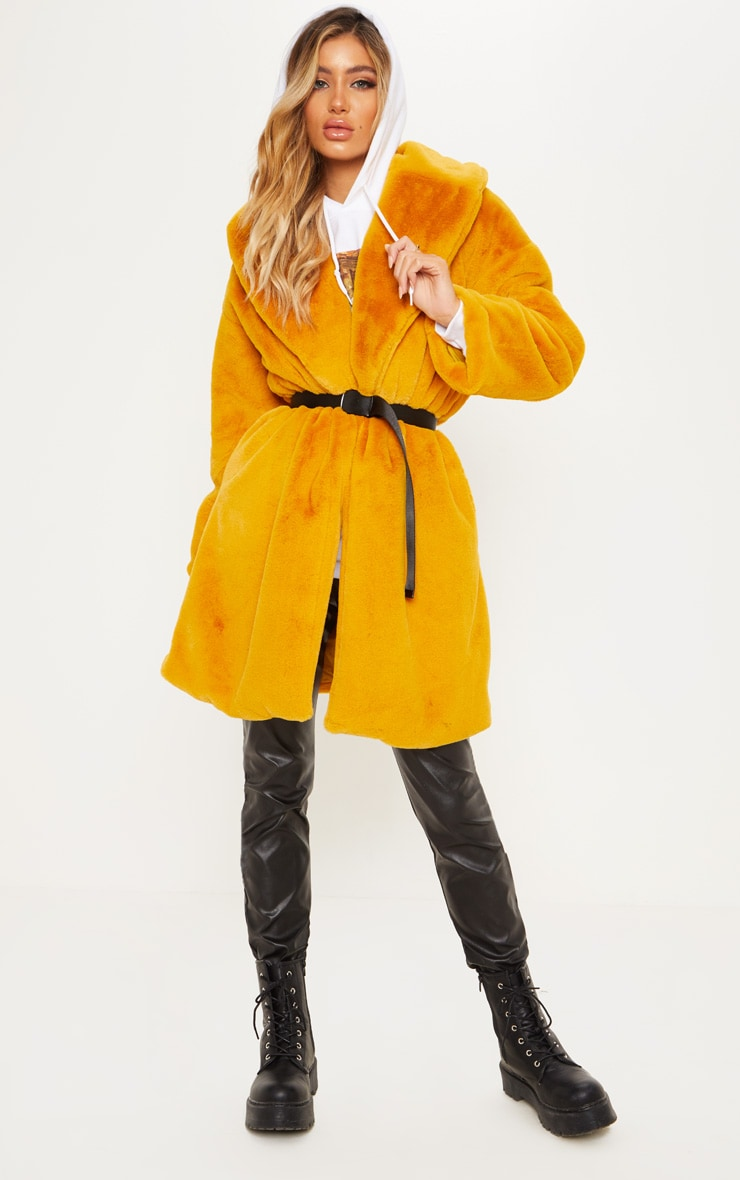 Mustard Midi Faux Fur Collar Coat