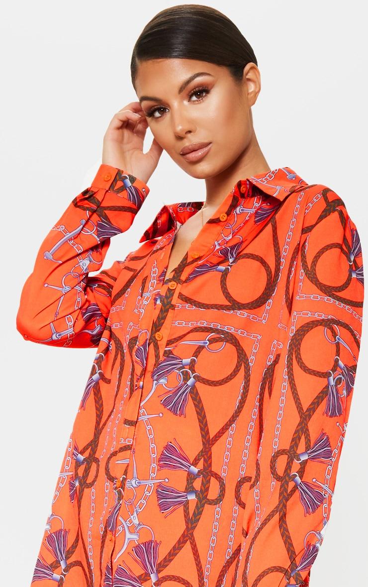 Orange Chain Printed Oversized Shirt 4