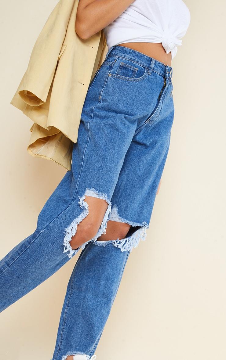PRETTYLITTLETHING Tall Mid Blue Extreme Ripped Hem Boyfriend Jeans 4