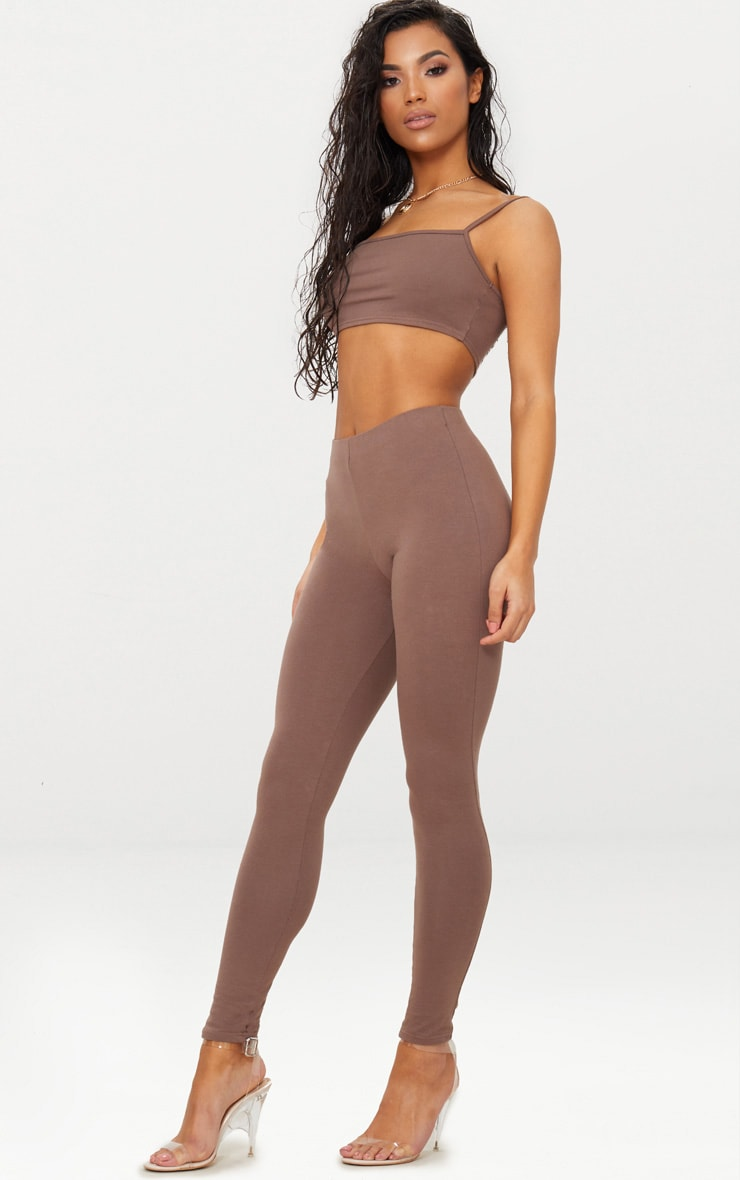 Brown High Waisted Cotton Stretch Leggings  1