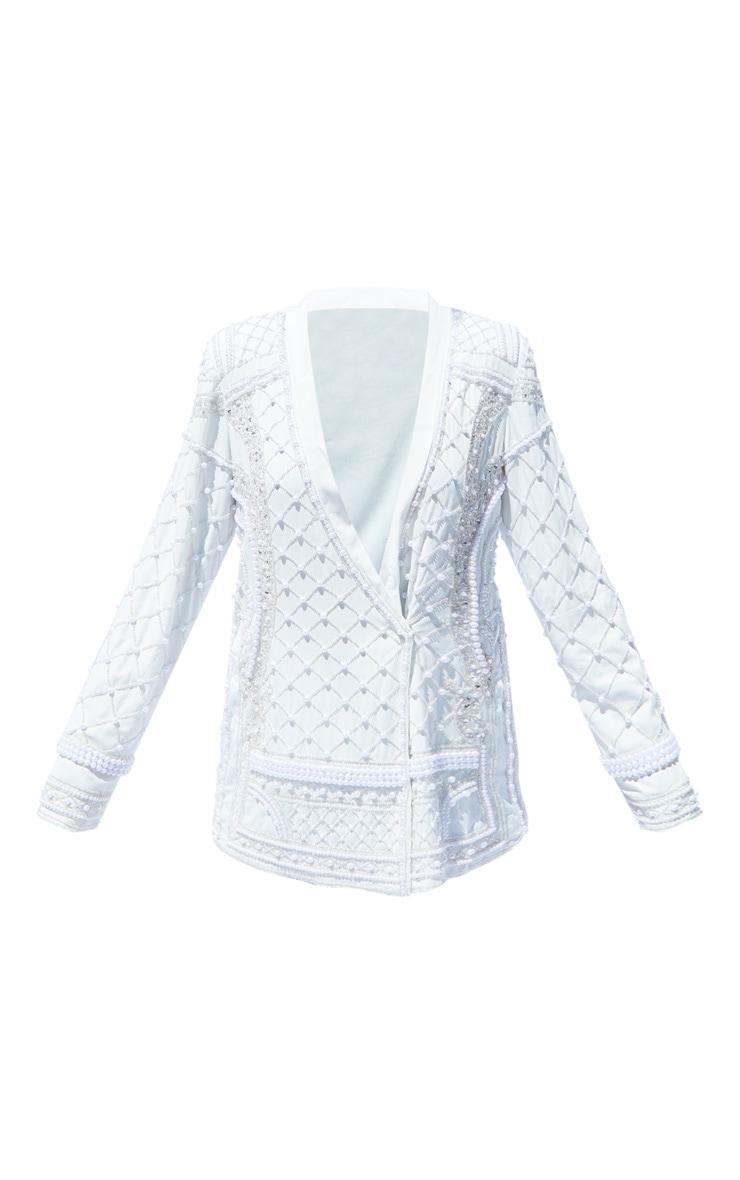 White Premium Embellished Beaded Oversized Blazer 5