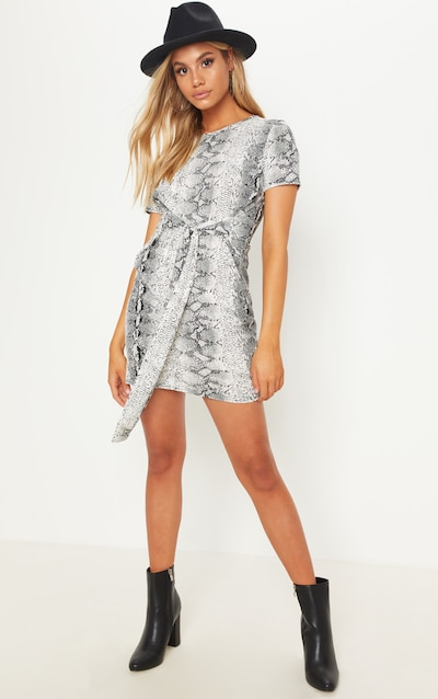 9157807ed2 Snake Print Tie Waist Oversized T Shirt Dress