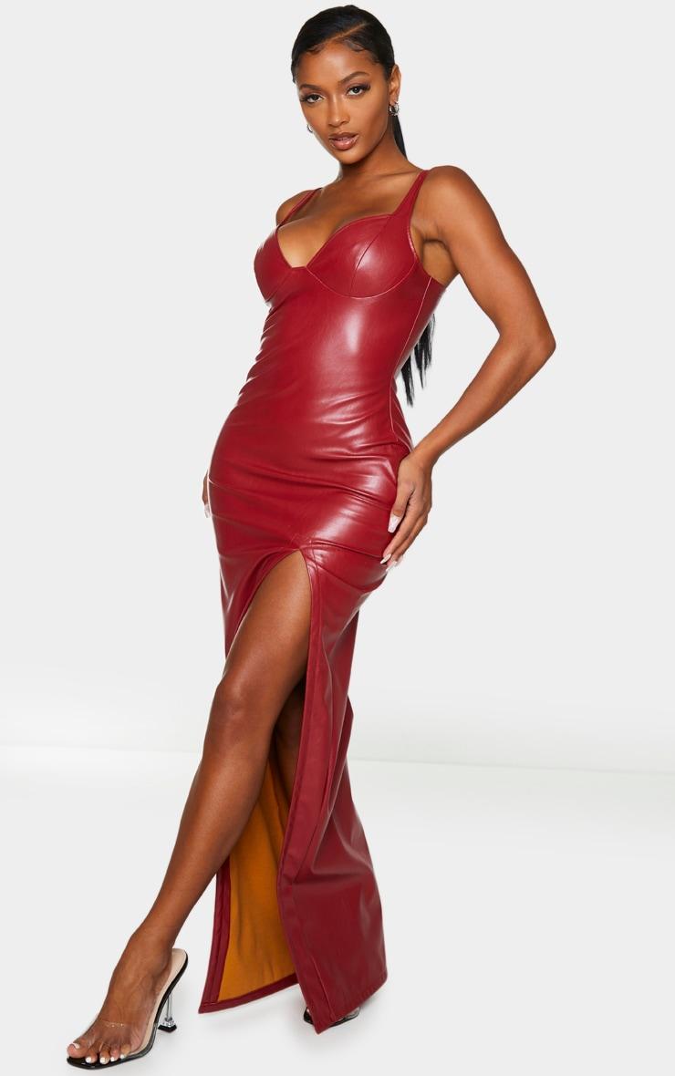 Shape Red PU High Split Maxi Dress 3