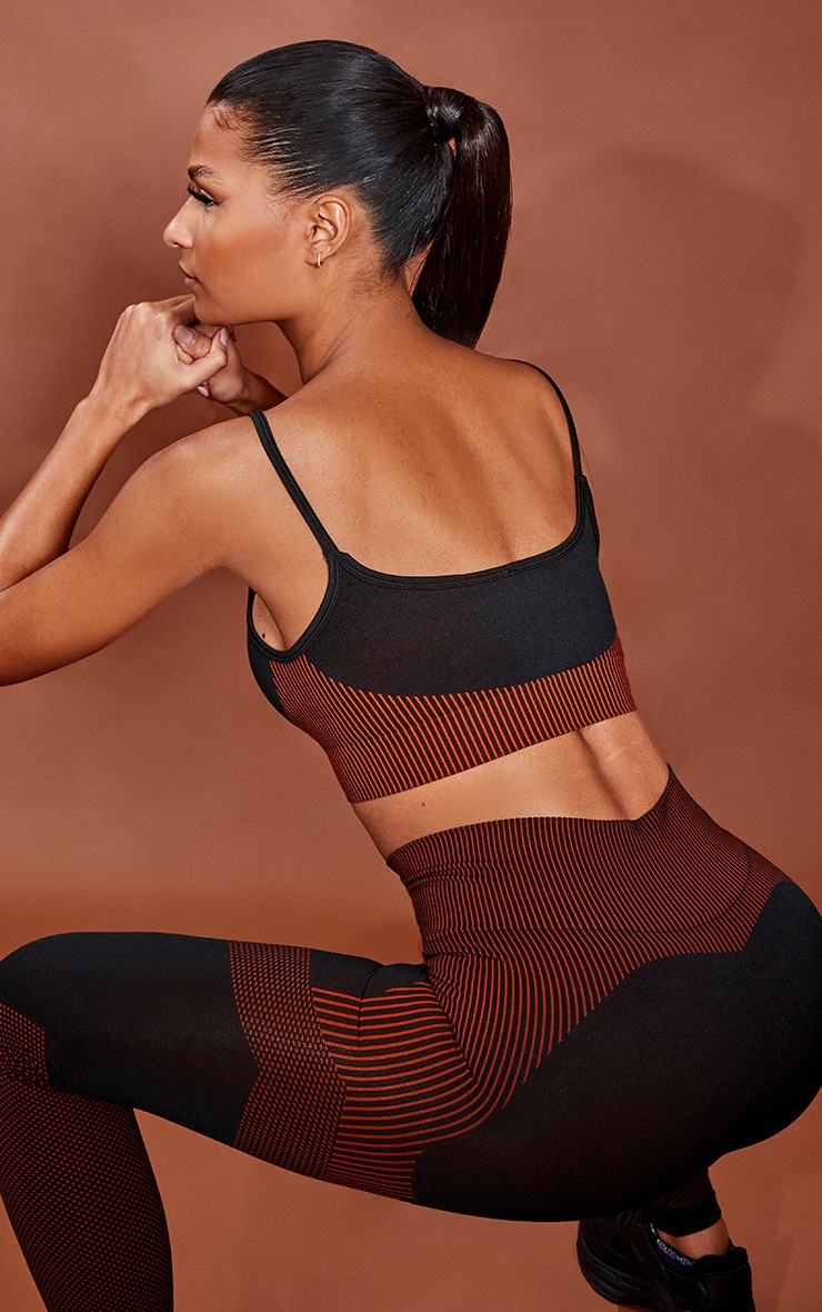 PRETTYLITTLETHING Rust Sport Ribbed Hem Seamless Sports Bra 2