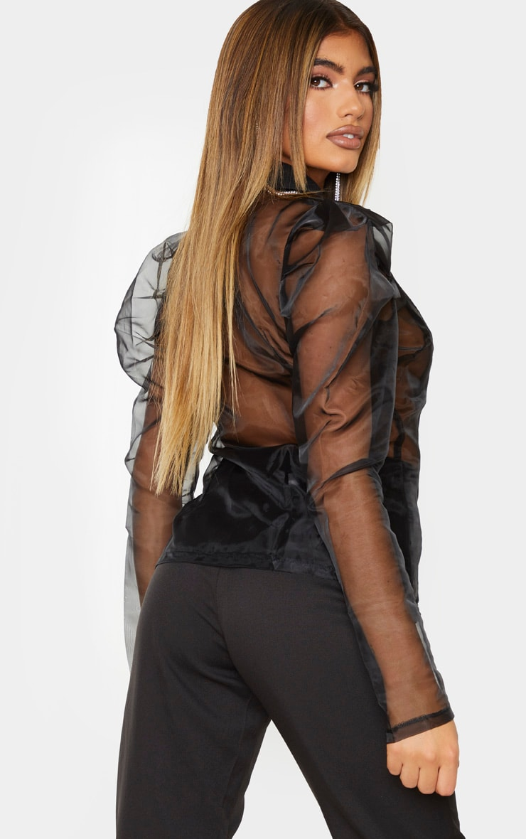 Black Sheer Puff Sleeve Fitted Shirt 2