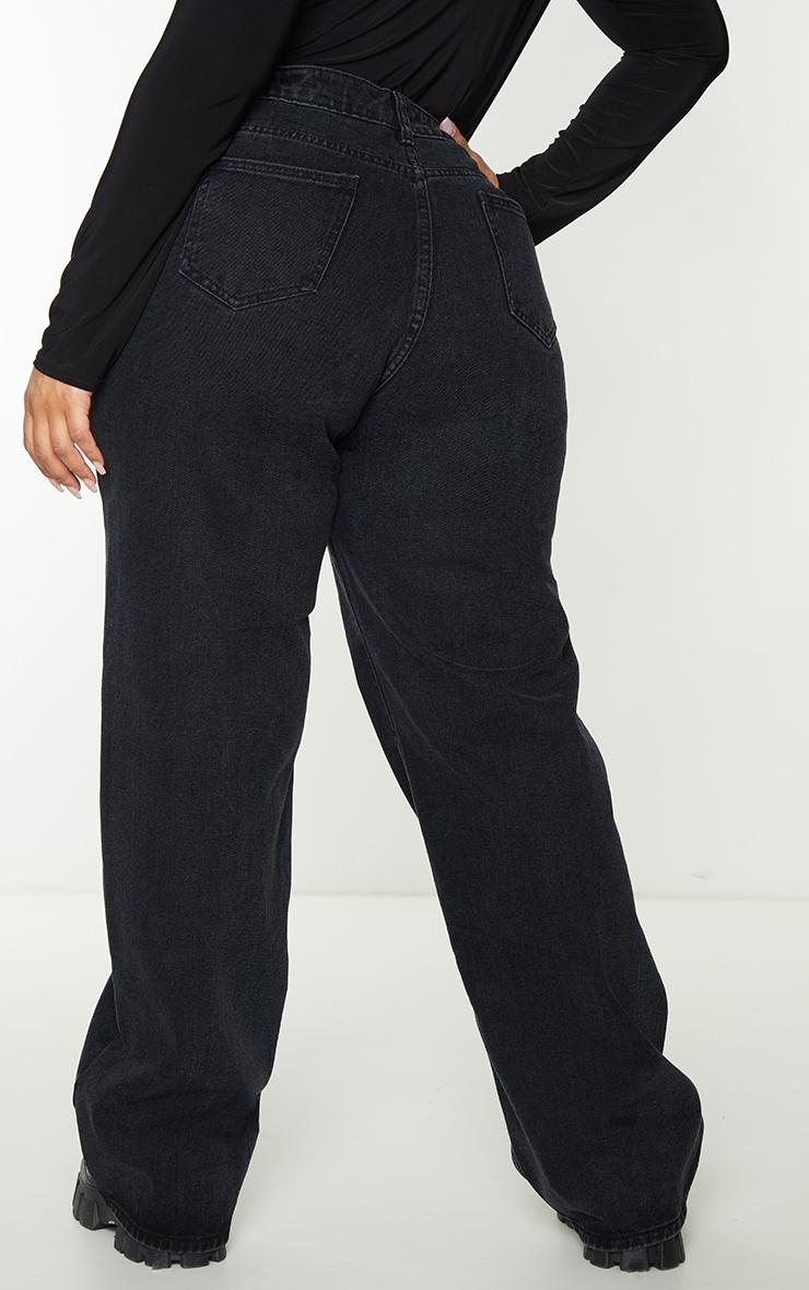 Plus Black Vintage Wash Seam Front Wide Leg Jeans 3