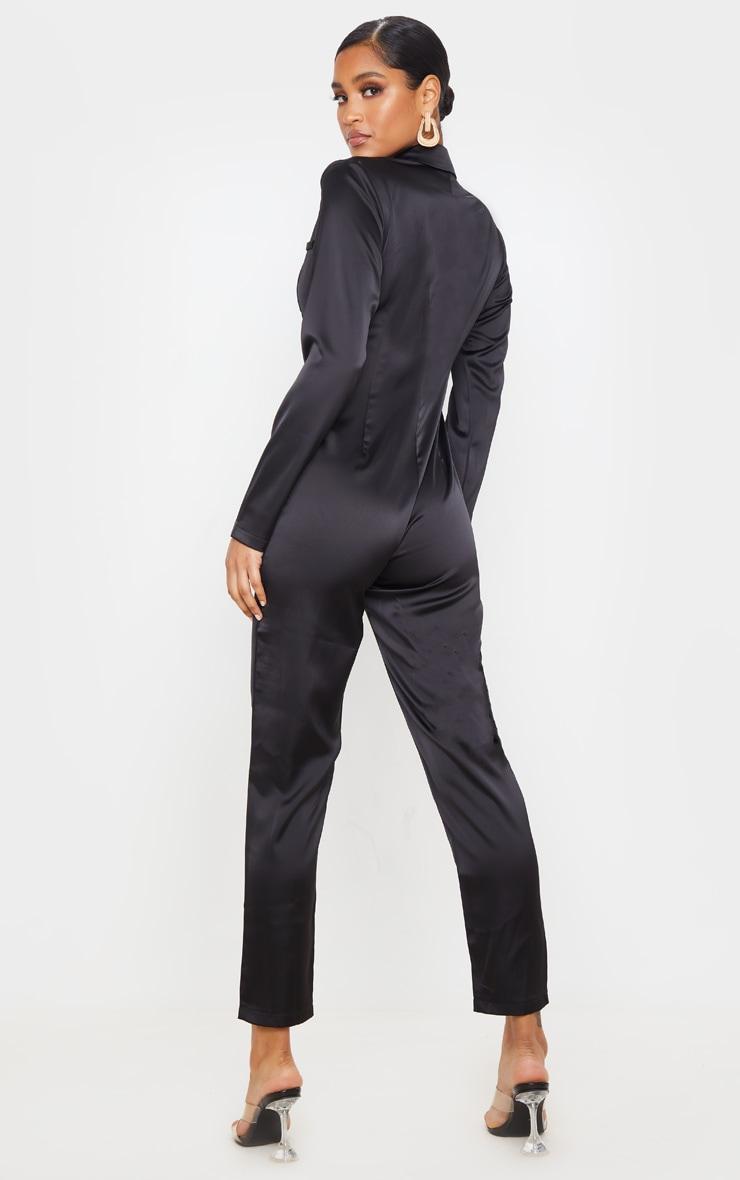 Black Long Sleeve Tailored Satin Jumpsuit 2