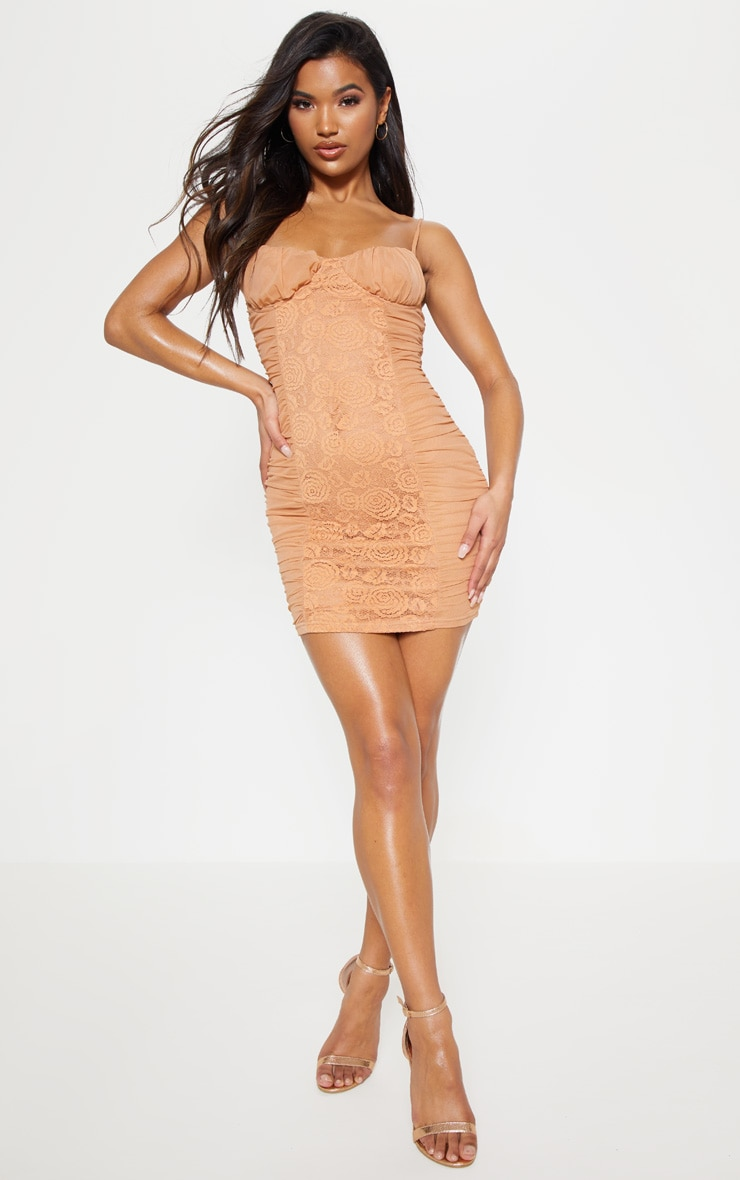 Camel Mesh Lace Insert Ruched Bodycon Dress 1