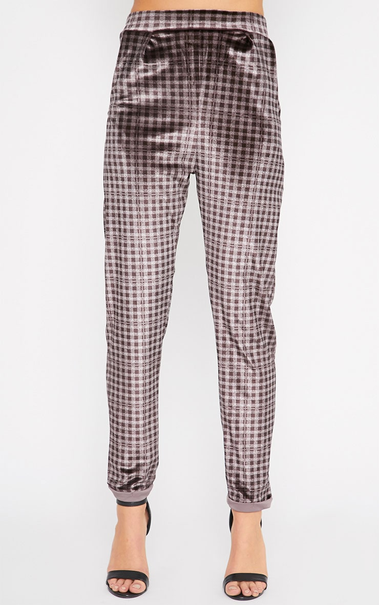 Grete Grey Tonal Gingham Velvet Tapered Trousers 3