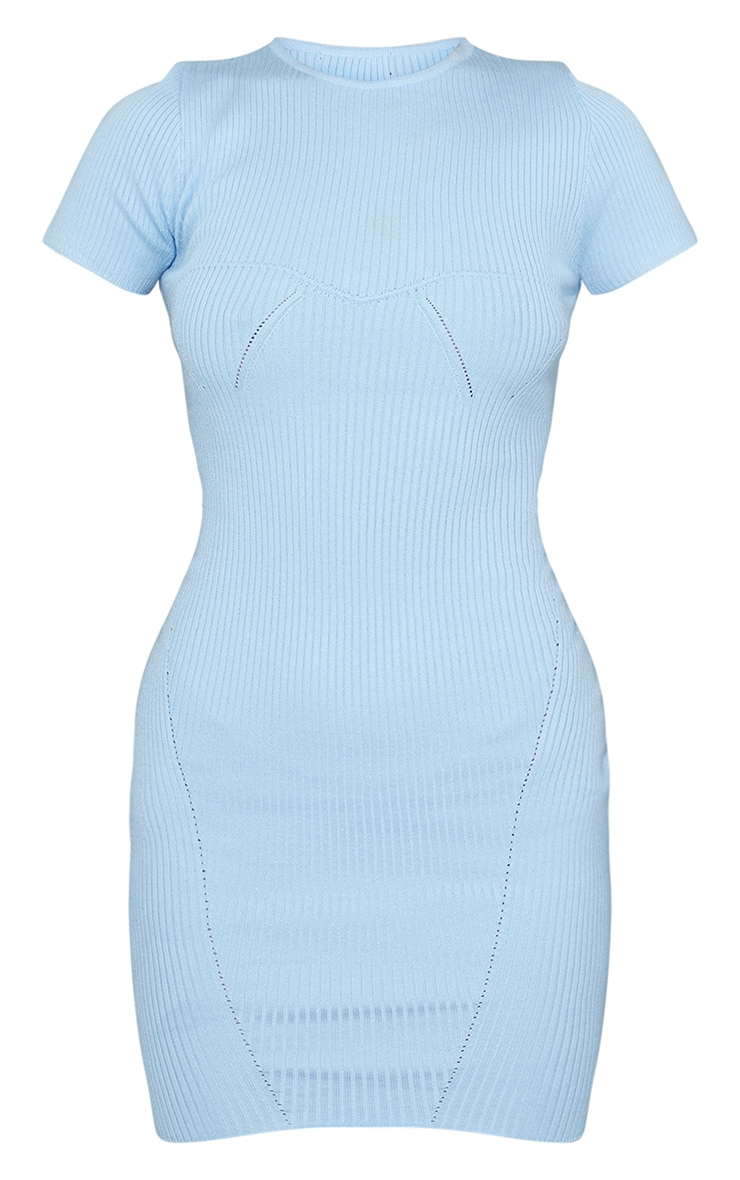 Baby Blue Bust Detail Short Sleeve Knitted Mini Dress 5