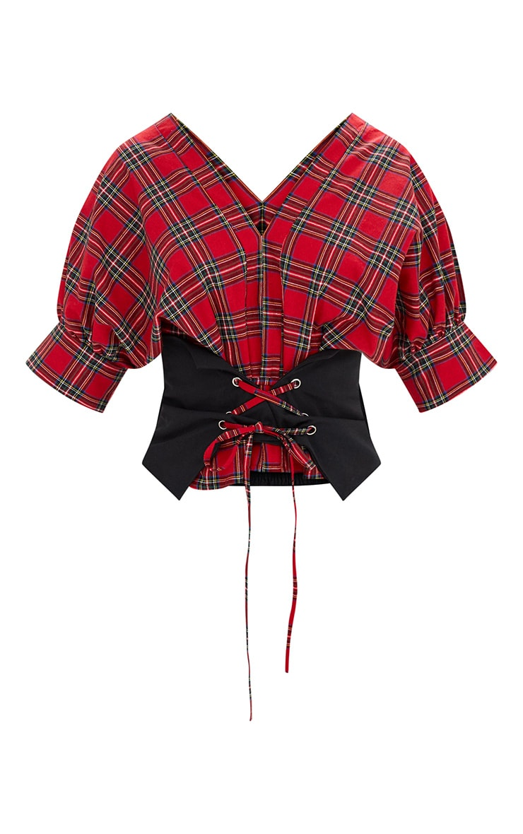 Red Check V Neck Corset Detail Shirt 3