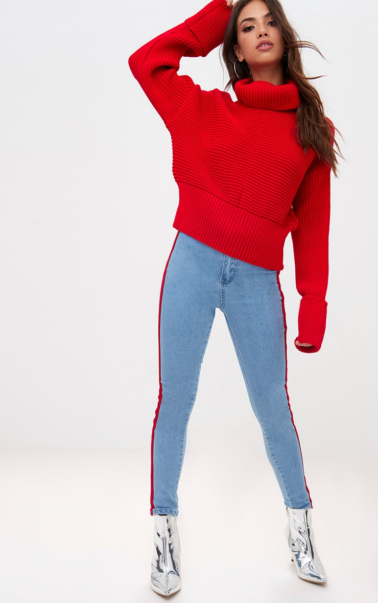 Red Extreme Sleeve Roll Neck Jumper 4