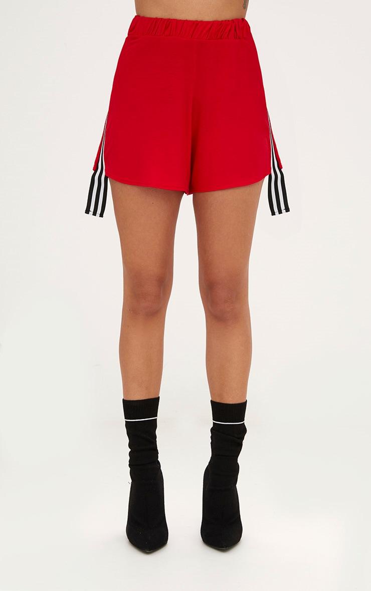 Red Stripe Tape Trim Jersey Shorts 2