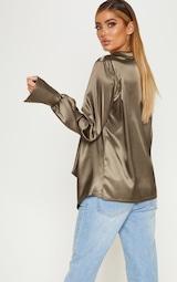574b485b9fd24e Khaki Extreme Cowl Longline Satin Shirt | PrettyLittleThing