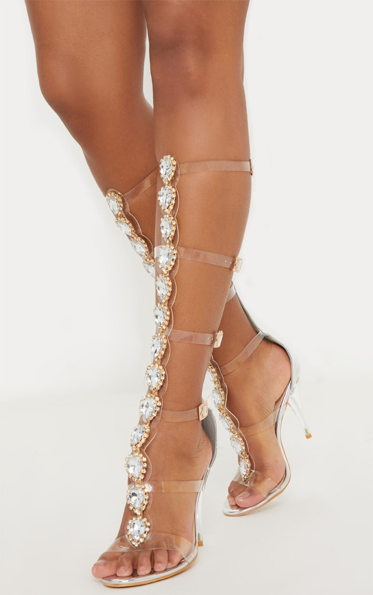 Silver Jewelled Knee High Sandal 1