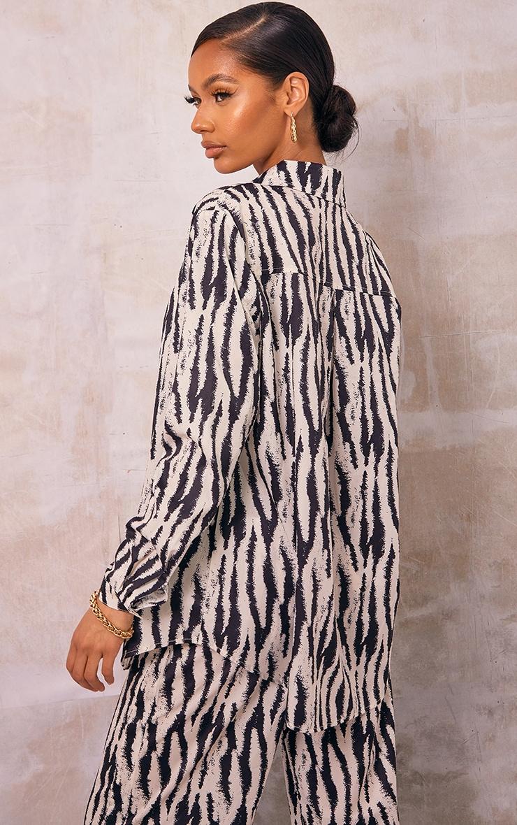 Black Zebra Printed Oversized Shirt 2