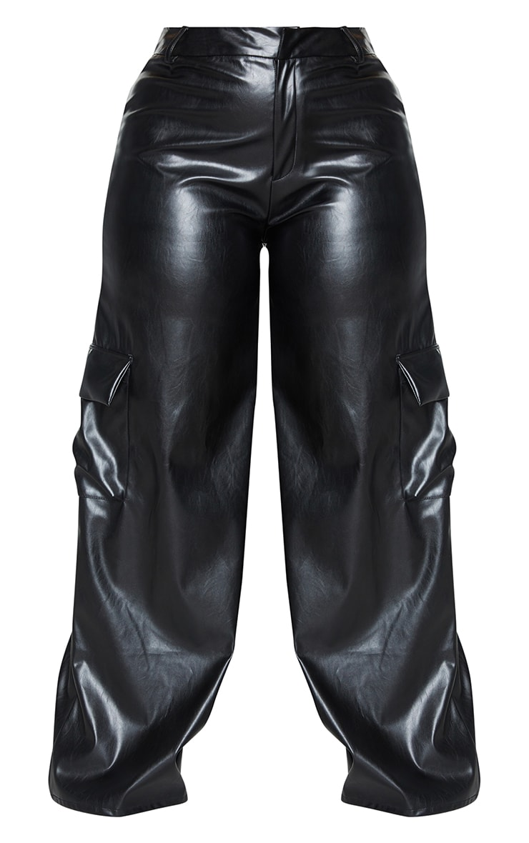 Plus Black PU Cargo Wide Leg Pants 5