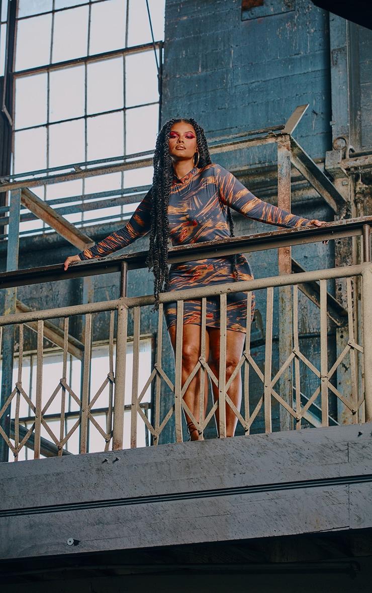 Plus Rust Abstract Print Slinky High Neck Bodycon Dress 4