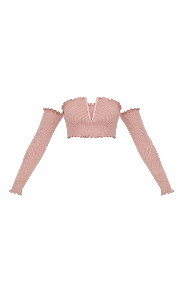 Rose Frill Edge V Bar Long Sleeve Crop Top  3