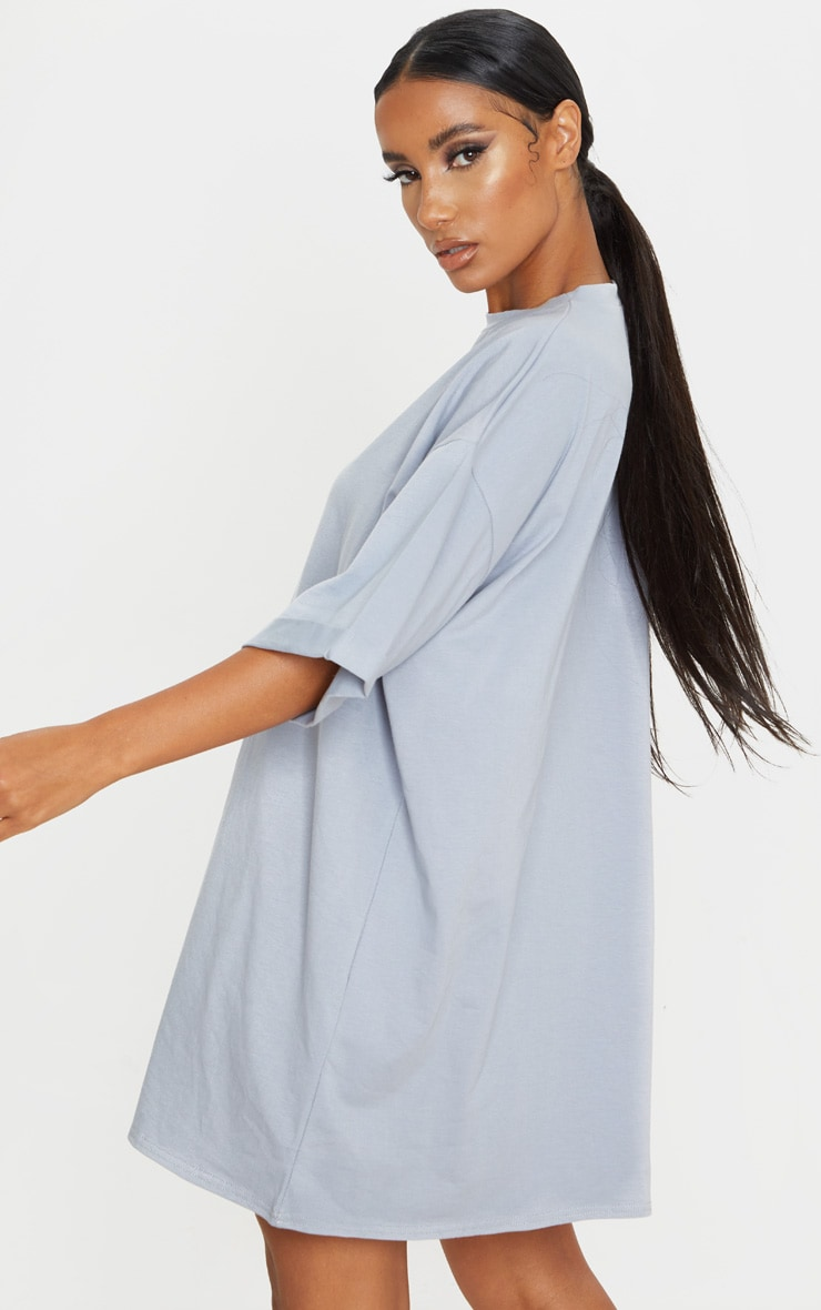 Charcoal Blue Oversized Boyfriend T Shirt Dress 2