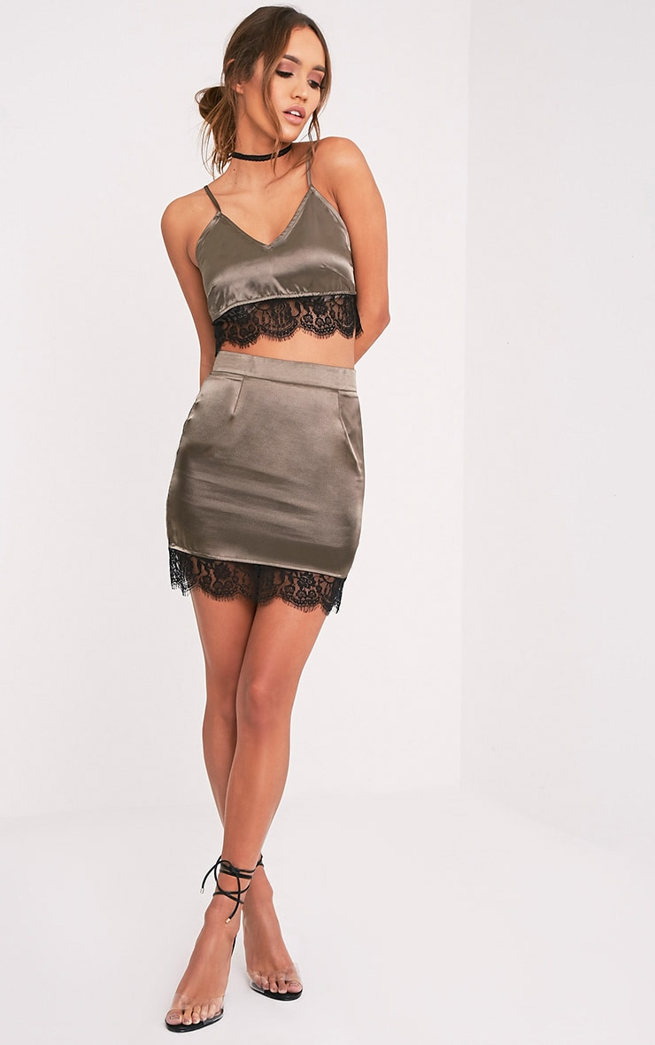 Lilo Khaki Satin Lace Hem Mini Skirt 1