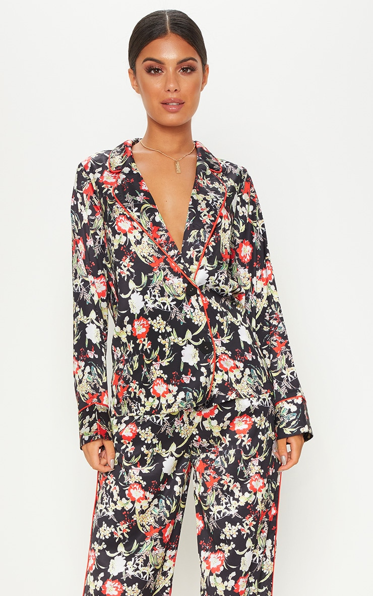Multi Floral Satin Printed Button Front Shirt