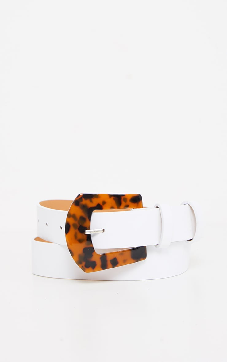 White Tortoiseshell Square Buckle Belt