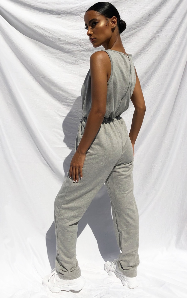 PRETTYLITTLETHING Grey Sleeveless Sweat Jumpsuit 2